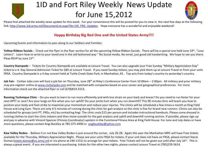 1ID and Fort Riley Weekly News Update                                    for June 15,2012Please find attached the weekly n...