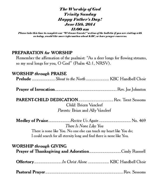 Knightdale Baptist Church June 15 Worship Bulletin