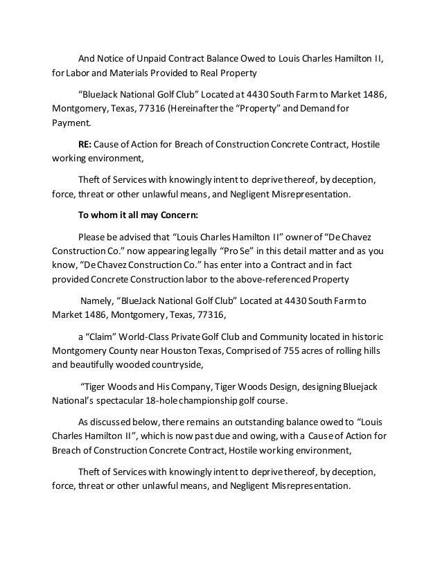 June 15th 2015 Bluejack National Golf Club Demand Letter