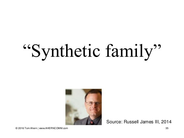 """""""Synthetic family"""" 35 Source: Russell James III, 2014 © 2016 Tom Ahern   www.AHERNCOMM.com"""