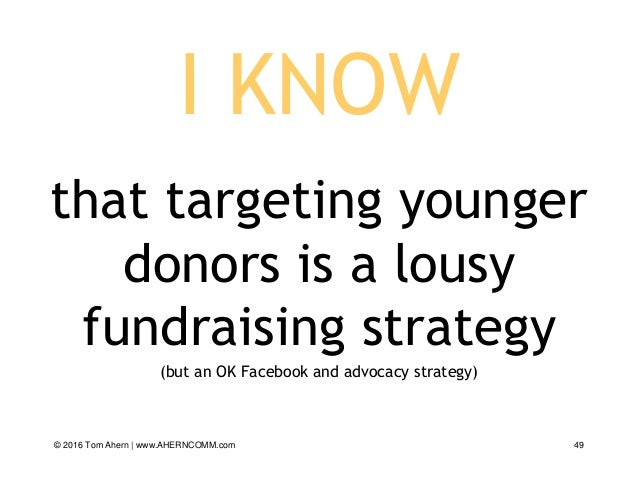 I KNOW that targeting younger donors is a lousy fundraising strategy (but an OK Facebook and advocacy strategy) © 2016 Tom...