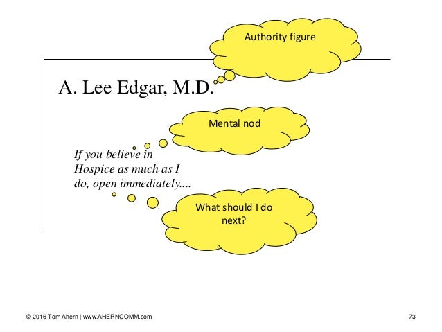 A. Lee Edgar, M.D. 73© 2016 Tom Ahern   www.AHERNCOMM.com If you believe in Hospice as much as I do, open immediately.... ...
