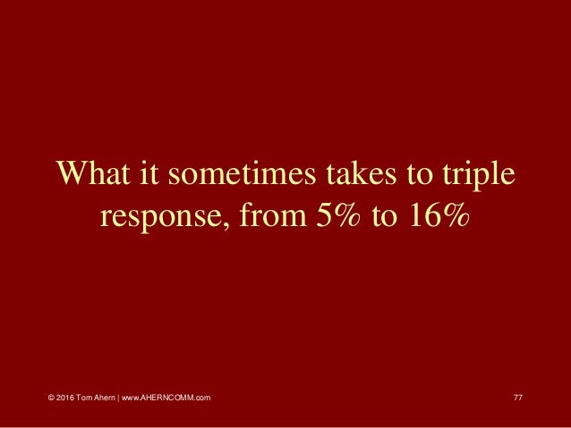 © 2016 Tom Ahern   www.AHERNCOMM.com 77 What it sometimes takes to triple response, from 5% to 16%