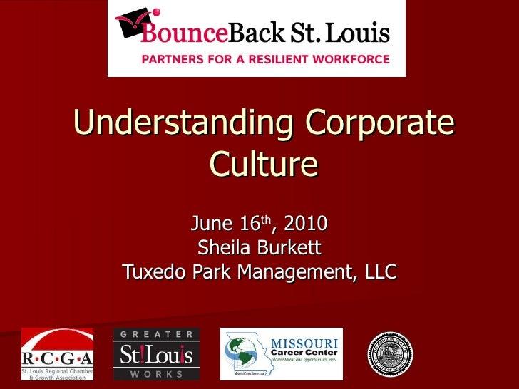 Understanding Corporate Culture June 16 th , 2010 Sheila Burkett Tuxedo Park Management, LLC