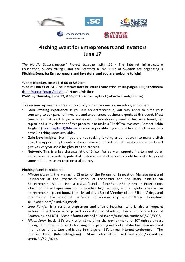 Pitching Event for Entrepreneurs and Investors June 17  The  Nordic  Edupreneuring*  Project ...