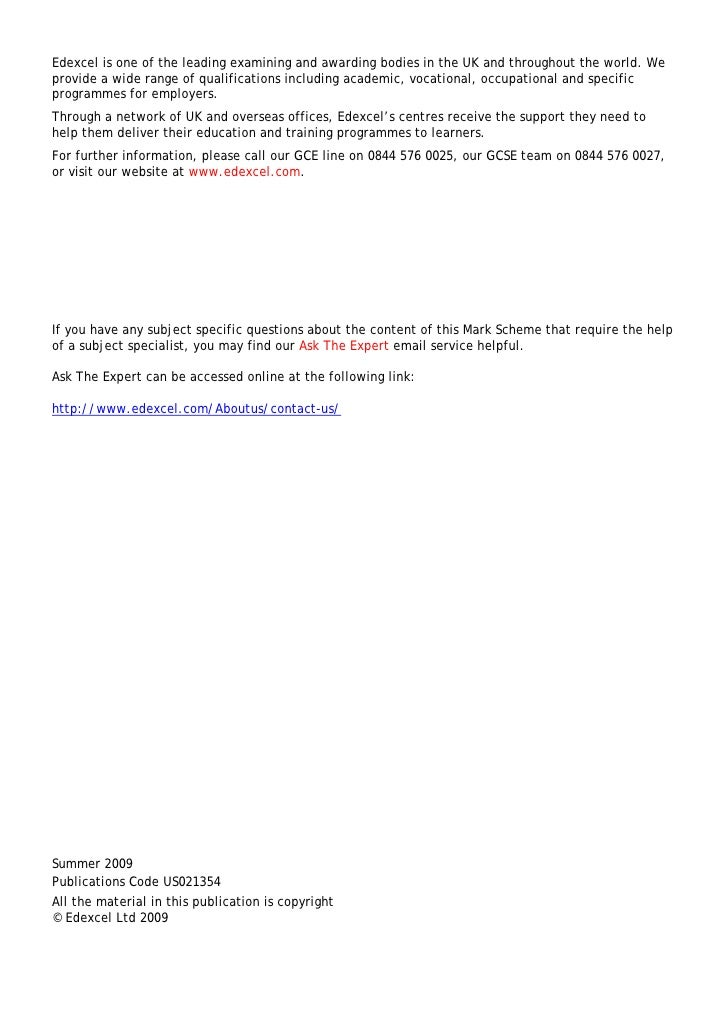 Edexcel gce biology coursework mark scheme