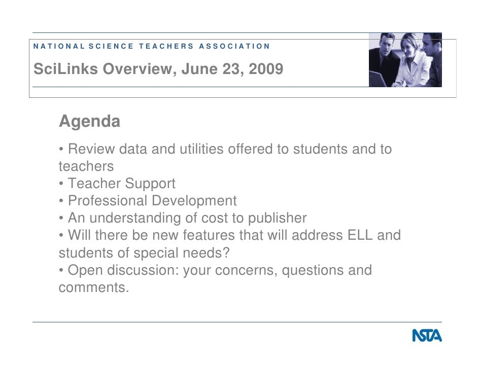 NATIONAL SCIENCE TEACHERS ASSOCIATION   SciLinks Overview, June 23, 2009      Agenda    • Review data and utilities offere...