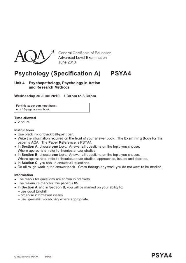 aqa psychology paper 2010