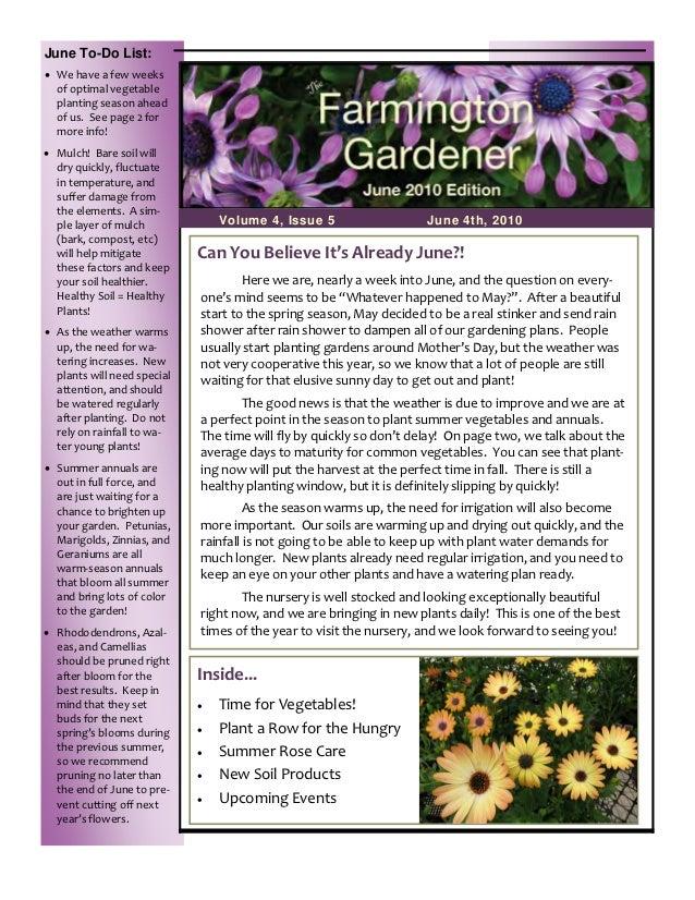 June To-Do List: Wehaveafewweeks   ofoptimalvegetable   plantingseasonahead   ofus.Seepage2for   more...