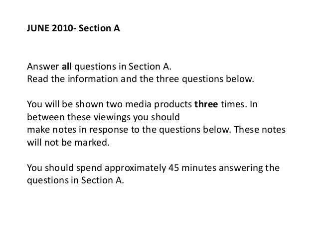 JUNE 2010- Section AAnswer all questions in Section A.Read the information and the three questions below.You will be shown...