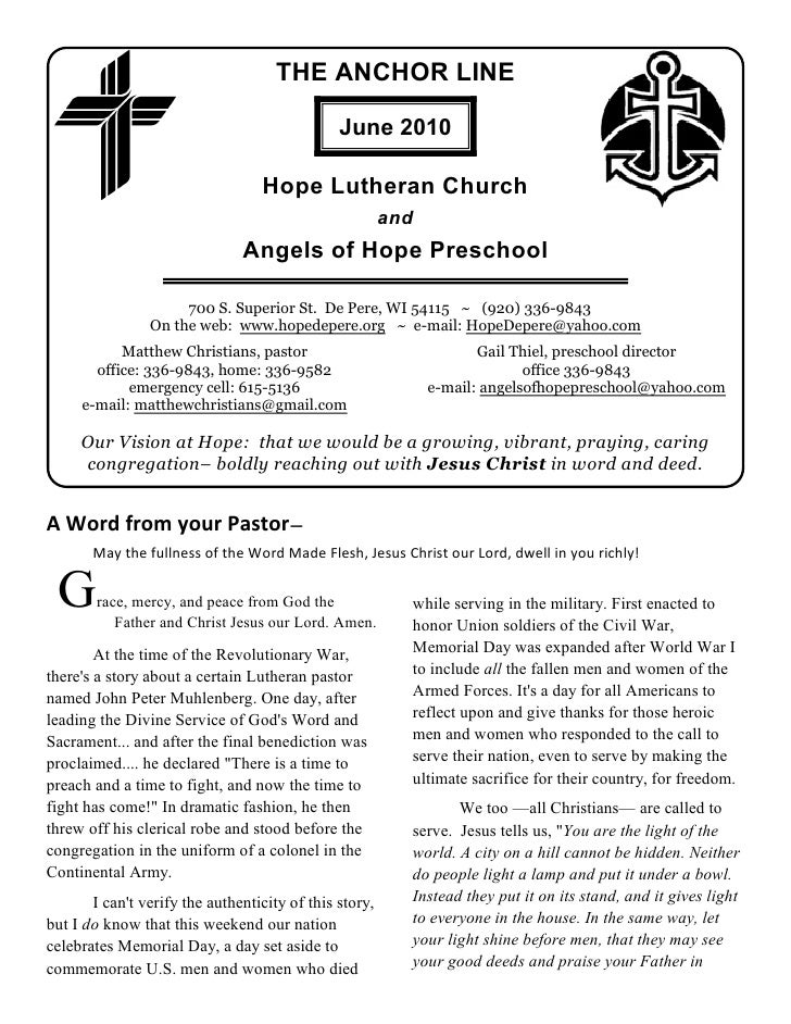 THE ANCHOR LINE                                                 June 2010                                    Hope Lutheran...