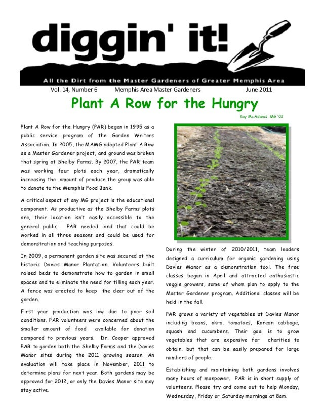 Vol. 14, Number 6       Memphis Area Master Gardeners                    June 2011                      Plant A Row for th...