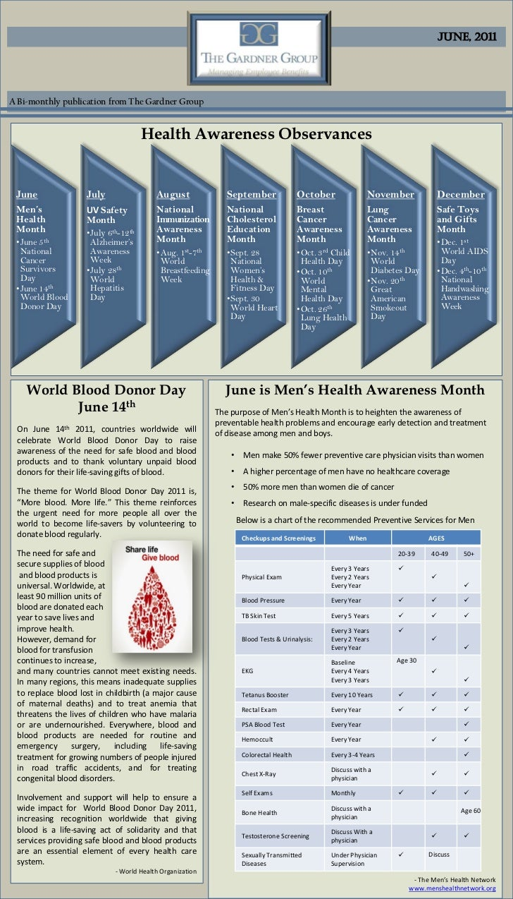 June, 2011A Bi-monthly publication from The Gardner Group                                      Health Awareness Observance...
