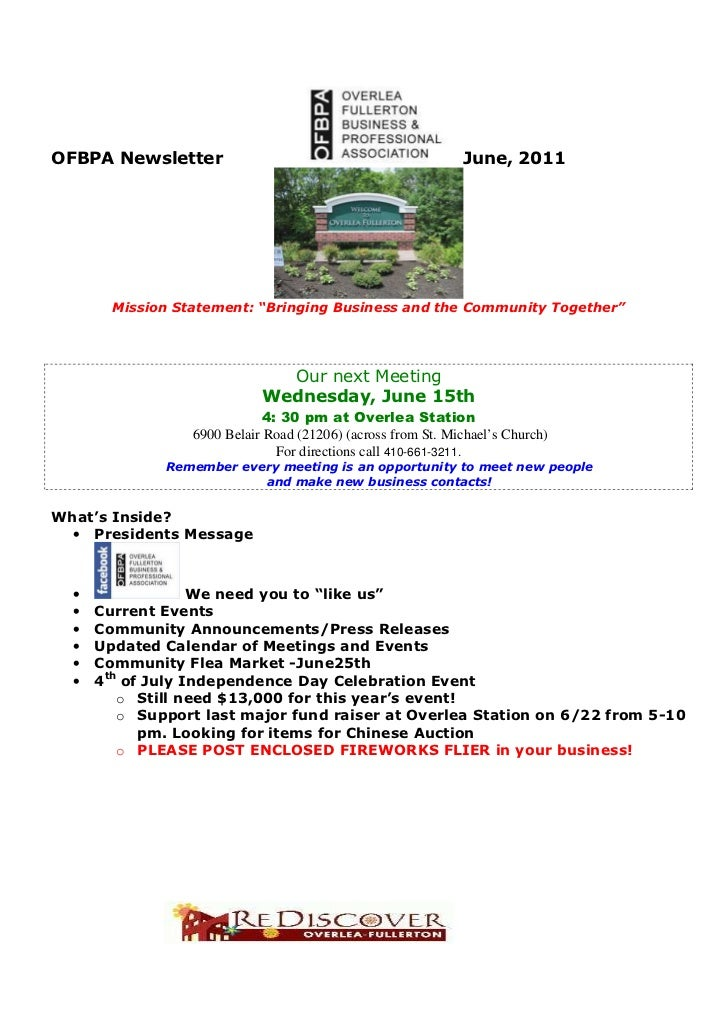 """OFBPA Newsletter                                              June, 2011        Mission Statement: """"Bringing Business and ..."""