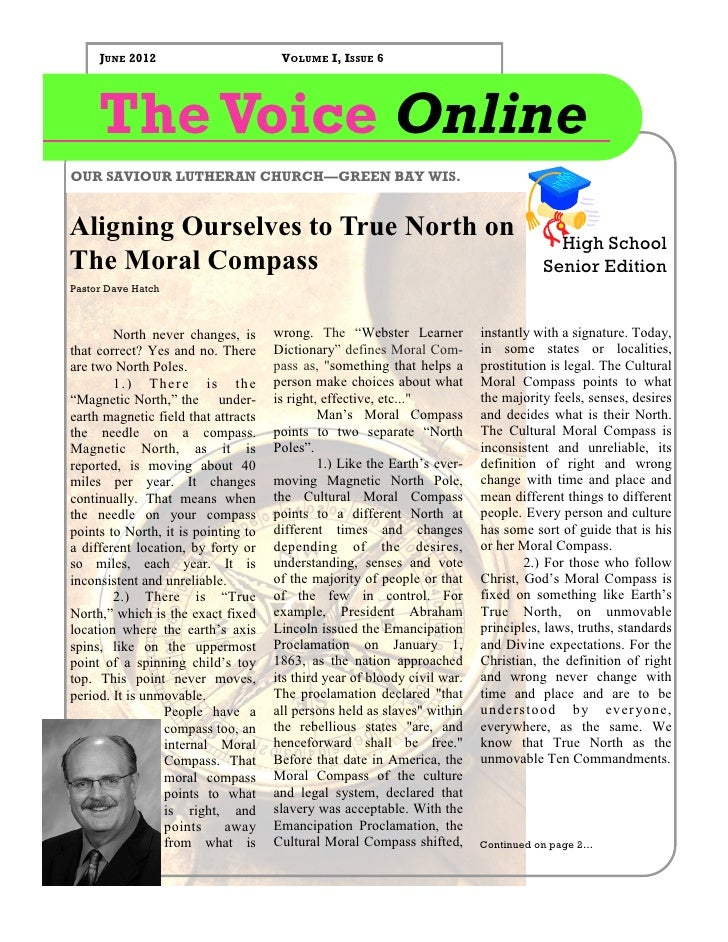 JUNE 2012                        VOLUME I, ISSUE 6     The Voice OnlineOUR SAVIOUR LUTHERAN CHURCH—GREEN BAY WIS.Aligning ...