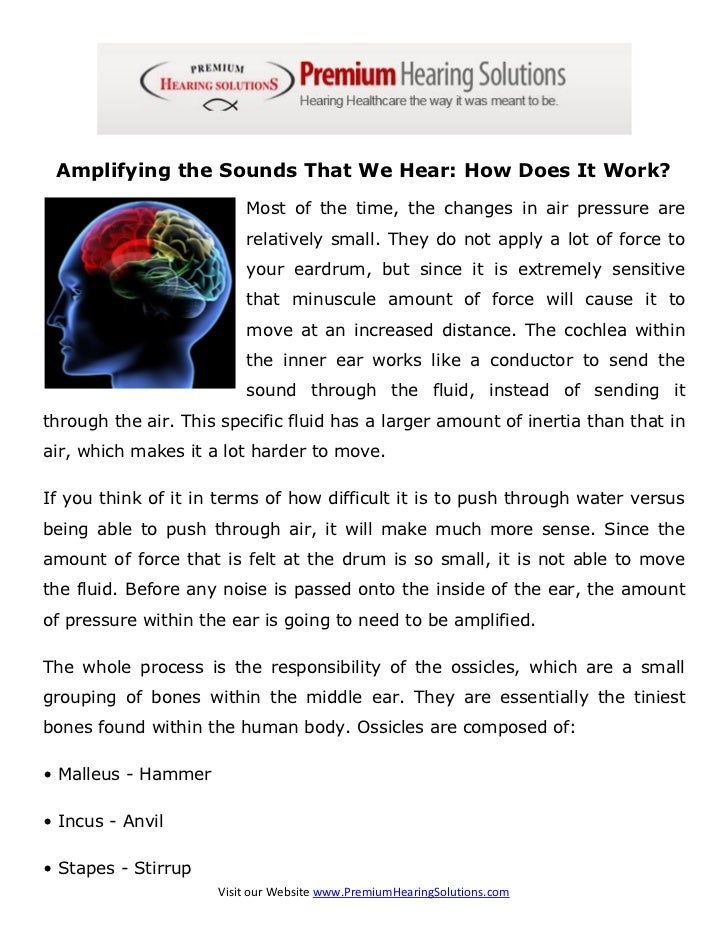 Amplifying the Sounds That We Hear: How Does It Work?                         Most of the time, the changes in air pressur...
