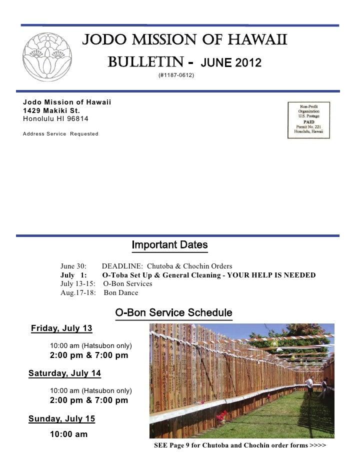 JODO MISSION OF HAWAII                             BULLETIN - JUNE 2012                                          (#1187-06...