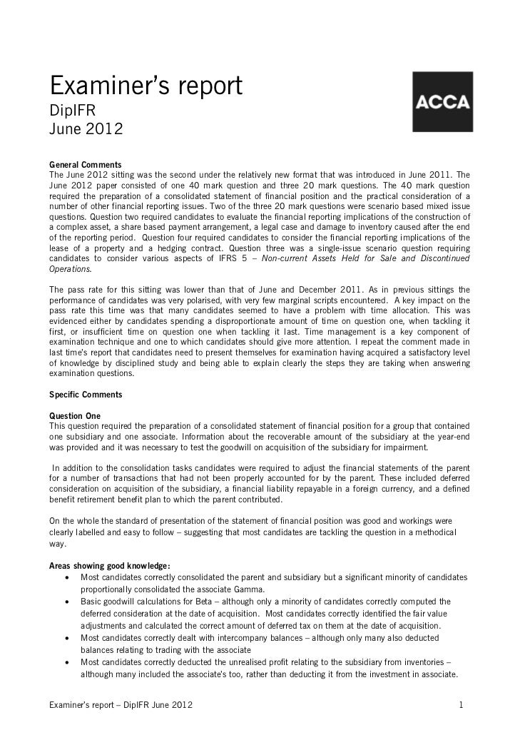 Examiner's reportDipIFRJune 2012General CommentsThe June 2012 sitting was the second under the relatively new format that ...