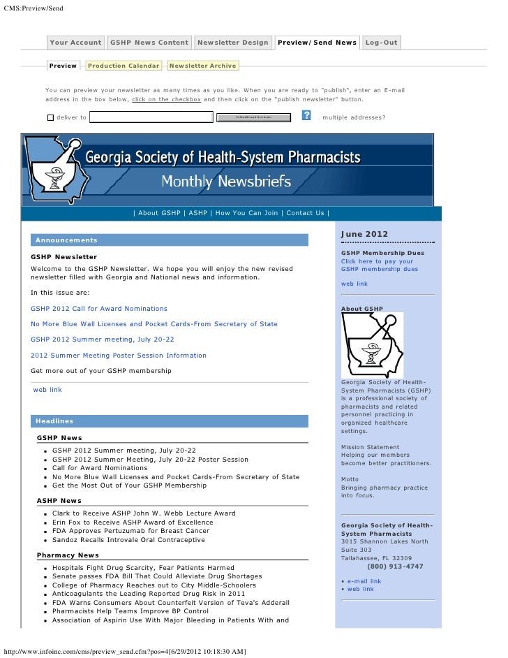 CMS:Preview/Send             Your Account        GSHP News Content       Newsletter Design                         Preview...