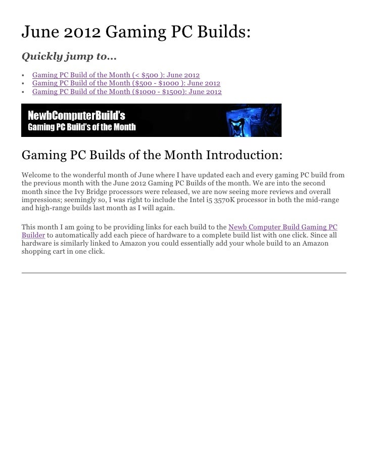 Gaming PC Builds - June 2012