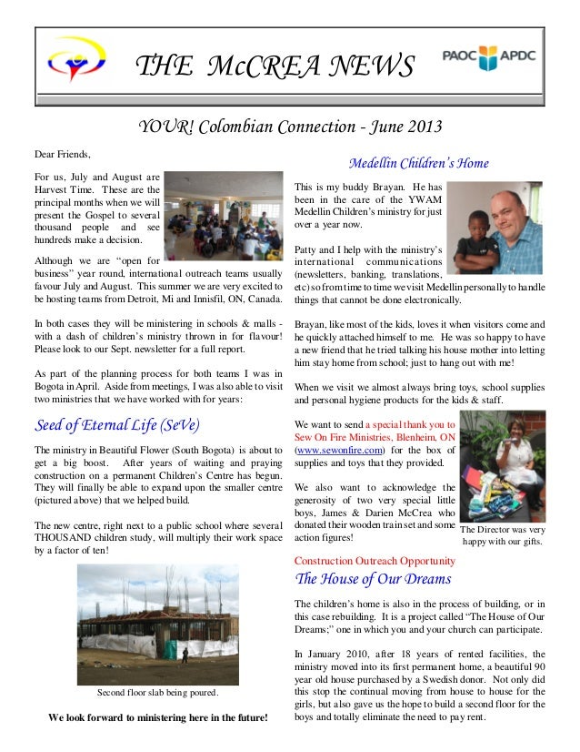 THE McCREA NEWSYOUR Colombian Connection