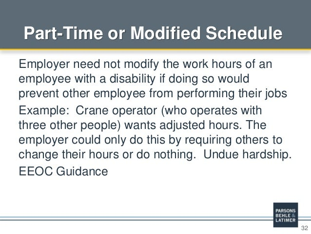 32 Part-Time or Modified Schedule Employer need not modify the work hours of an employee with a disability if doing so wou...