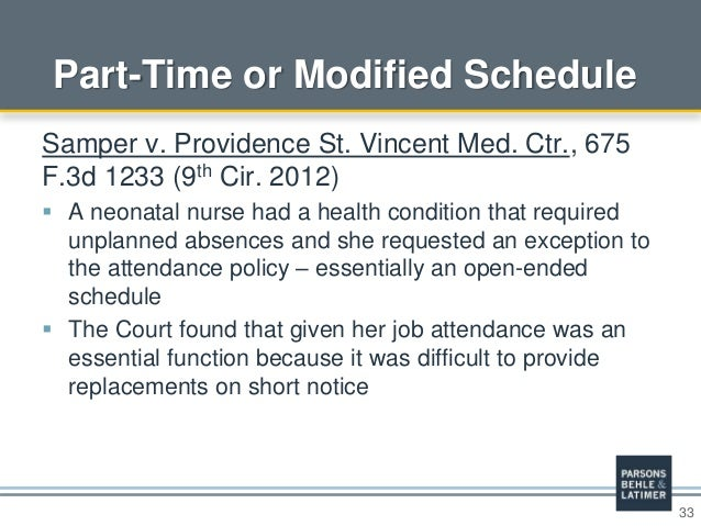 33 Part-Time or Modified Schedule Samper v. Providence St. Vincent Med. Ctr., 675 F.3d 1233 (9th Cir. 2012)  A neonatal n...