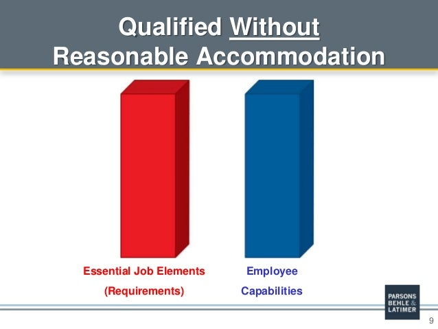9 Qualified Without Reasonable Accommodation Essential Job Elements (Requirements) Employee Capabilities