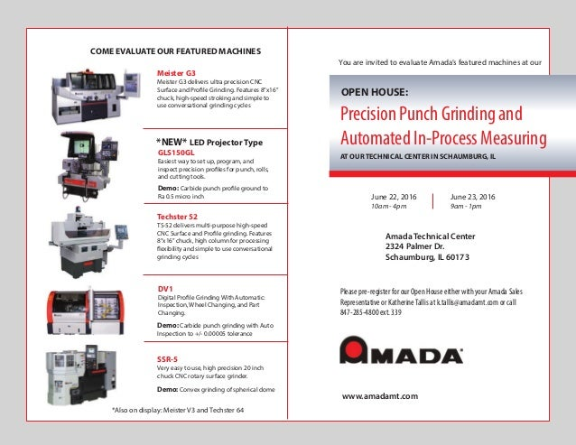 Amada Precision CNC Grinders - Open House - June 22nd & 23rd