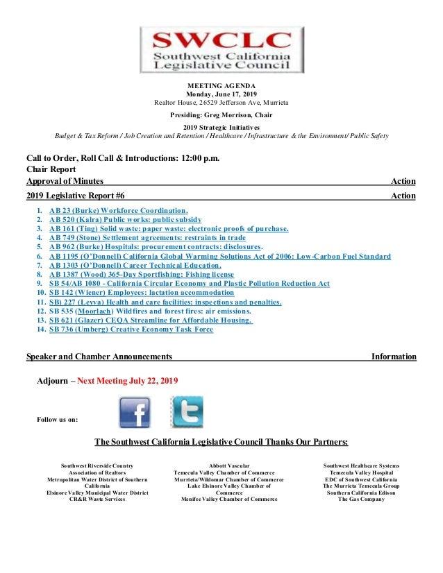 SWCLC Legislative agenda June 2019