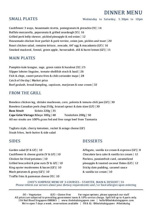 DINNER MENU SMALL PLATES Wednesday to Saturday, 5.30pm to 10pm Cauliflower 3 ways, housemade ricotta, pomegranate & pistac...