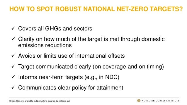 HOW TO SPOT ROBUST NATIONAL NET-ZERO TARGETS?  Covers all GHGs and sectors  Clarity on how much of the target is met thr...
