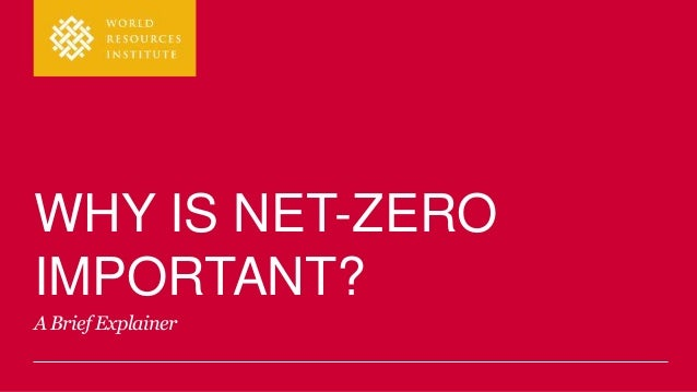 WHY IS NET-ZERO IMPORTANT? A Brief Explainer