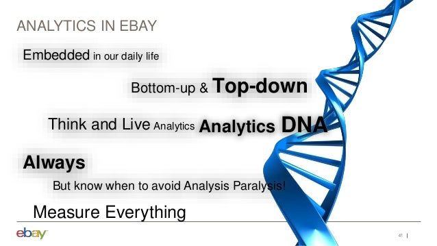 41 ANALYTICS IN EBAY Measure Everything Embedded in our daily life Bottom-up & Top-down Think and Live Analytics Always Bu...