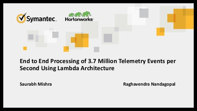 End to End Processing of 3.7 Million Telemetry Events per Second Using Lambda Architecture Saurabh Mishra Raghavendra Nand...