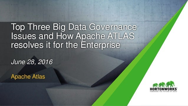 1 © Hortonworks Inc. 2011 – 2016. All Rights Reserved Top Three Big Data Governance Issues and How Apache ATLAS resolves i...