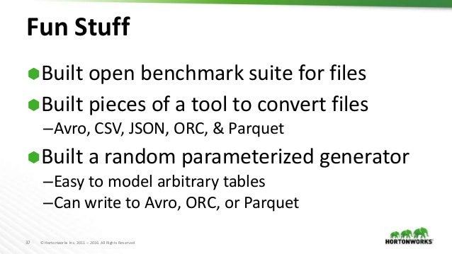 File Format Benchmark - Avro, JSON, ORC & Parquet