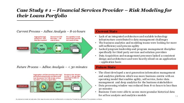 14 Case Study # 1 – Financial Services Provider – Risk Modeling for their Loans Portfolio Current State Future State • The...
