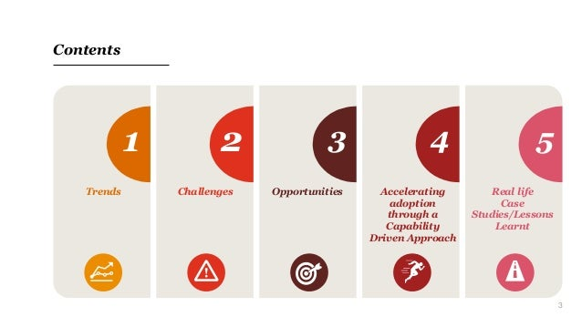 3 Contents 1 2 3 4 5 Trends Challenges Opportunities Accelerating adoption through a Capability Driven Approach Real life ...