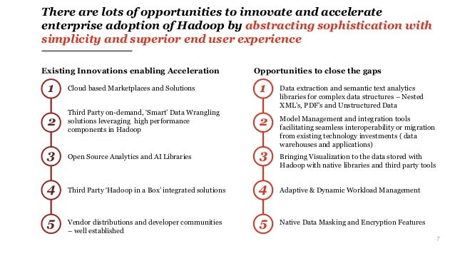 7 There are lots of opportunities to innovate and accelerate enterprise adoption of Hadoop by abstracting sophistication w...