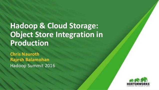 1 © Hortonworks Inc. 2011 – 2016. All Rights Reserved Hadoop & Cloud Storage: Object Store Integration in Production Chris...