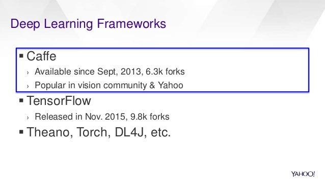Deep Learning Frameworks  Caffe › Available since Sept, 2013, 6.3k forks › Popular in vision community & Yahoo  TensorFl...