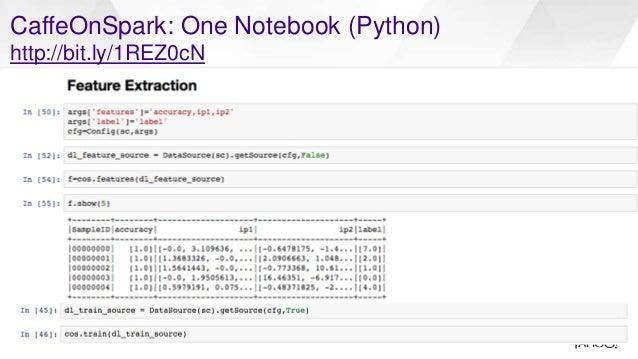 CaffeOnSpark: One Notebook (Python) http://bit.ly/1REZ0cN 19