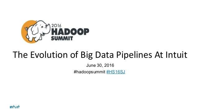 The Evolution of Big Data Pipelines At Intuit June 30, 2016 #hadoopsummit #HS16SJ