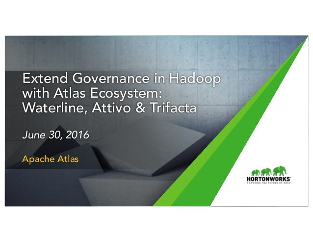 1 © Hortonworks Inc. 2011 – 2016. All Rights Reserved Extend Governance in Hadoop with Atlas Ecosystem: Waterline, Attivo ...