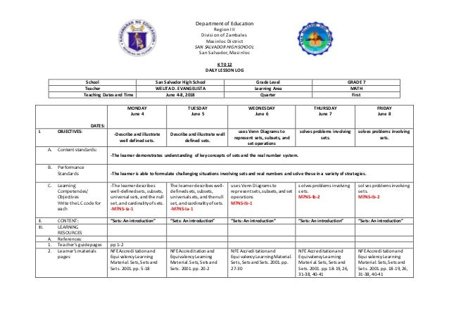 Department of Education Region III Division of Zambales Masinloc District SAN SALVADOR HIGH SCHOOL San Salvador, Masinloc ...