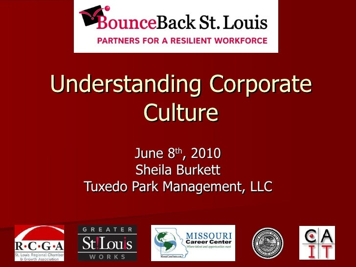 Understanding Corporate Culture June 8 th , 2010 Sheila Burkett Tuxedo Park Management, LLC