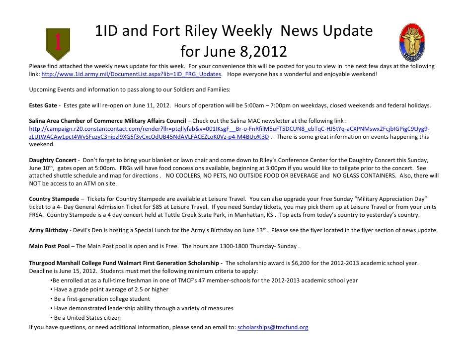 1IDandFortRileyWeeklyNewsUpdate                                     forJune8,2012Pleasefindattachedtheweekly...