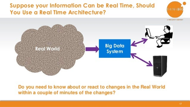 Suppose your Information Can be Real Time, Should You Use a Real TIme Architecture? 17 Real World Big Data System Do you n...