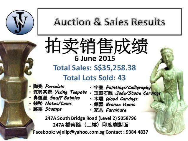 WJN Auction - 6 June 2015 Auction & Sales Results